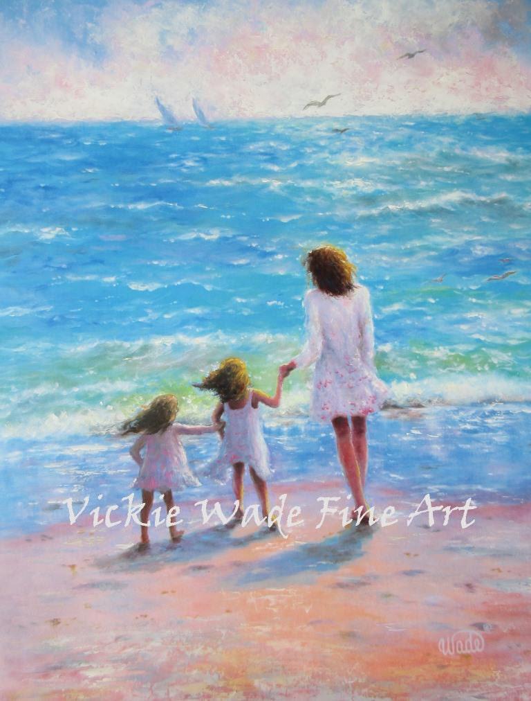 Mutter und zwei Töchter Strand Kunstdruck Mama zwei Mädchen