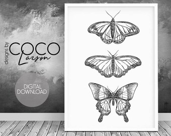 Butterfly print, scandinavian print, butterfly wall print, large print, digital download, minimal home decor, gift for her, digital art