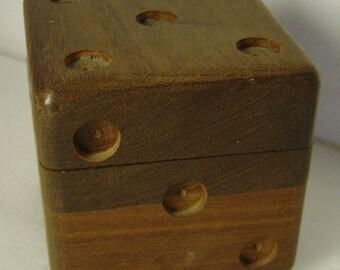 Midcentury die dice Teak wood trinket box