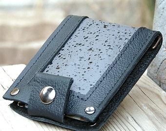 Leather Wallet for Men - Slim Jim Bifold Money Clip --- Black Rain on Gray Inlay in Black