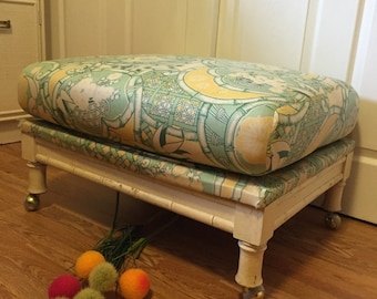 FAUX BAMBOO OTTOMAN, Bench, Stool, Large and Comfortable, Coffee Table, Chinoiserie, Hollywood Regency, Palm Beach Chic at Ageless Alchemy