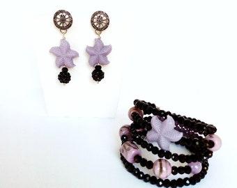 Gioielli stella marina, parure bracciale e orecchini, gioielli mare, bracciale cristalli, gioielli resina, orecchini viola, bracciale rigido