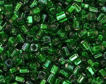 Toho 4mm Cube, Silver Lined Grass Green (27B), 10 grams