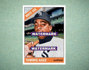 """Tommie Agee Chicago White Sox, ORIGINAL """"Card That Could Have Been"""" by MaxCards, 1966 Style Custom Baseball Card 2.5 x 3.5 MINT"""