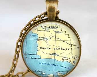 Santa Barbara map necklace,santa barbara  pendant, santa barbara map jewelry gift for men women with gift bag