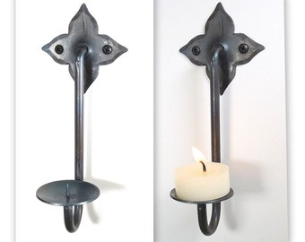 2 Hand Forged Candle Holders Wall Hung Rustic Sconces Black Metal Decor Wrought Iron Stick Christmas Gift Blacksmith Pair Star Candleholders