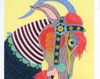 Carousel Goat - Mini Art Print