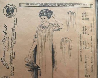1908 Original McCall Sewing Pattern for ladies tucked nightgown