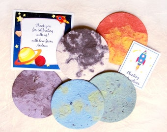 10 Plantable Out of this World Birthday Party Favors - Astronaut Space Party Favors - Flower Seed Paper Planets Rockets