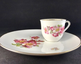 Vintage Schumann Porcelain Wild Rose Luncheon Plate u0026 Cup Set Bavaria Germany : luncheon plates with cup holder - pezcame.com
