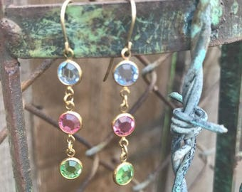 Vintage 14k Gold and Multicolor Crystal Dangle Earrings
