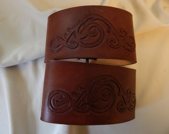 Leather armbands bicep, cuffs  with hand carved sroll design