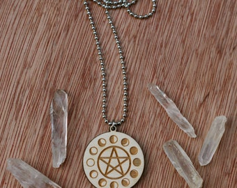 Laser Etched Moon Phases and Pentacle Necklace