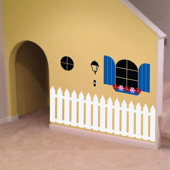 Indoor Playhouse with Fence Decal by WallDecalStudioscom & Define a Space with a Picket Fence Wall Decal - Creative Designs
