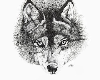 Wolf Print, Wolf Art, Wolf Ink Drawing, Wolf drawing, Wolf Illustration, Wolf Decor, Fox Ink Drawing, Fox Drawing, Fox Print, Cyote