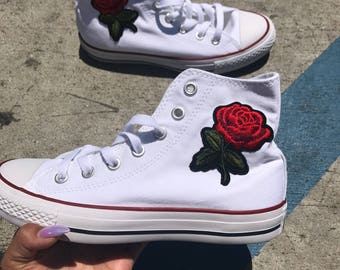 High Top Rose Converse Floral Converse Rose Shoes Sewed in Rose Shoes