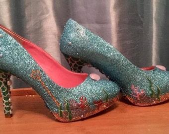 Mermaid Heels - Under The Sea - Platforms - Glitter - Themed Bridal Shoes - Bridesmaid - Wedding - Prom - Customised Shoes - UK Size 3-8