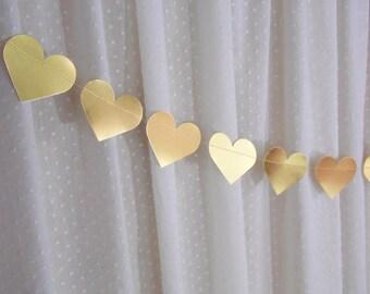 Metallic Gold Heart Garland, Gold Wedding Decor, Bridal Shower Banner, Gold Foil Heart Banner
