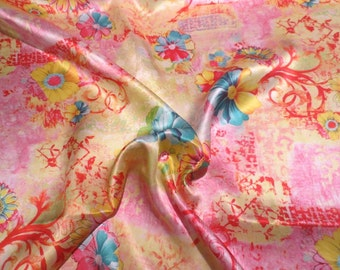 Yellow Pink and Aqua Daisy Collage Digital Print Pure Silk Charmeuse Fabric--By the Yard