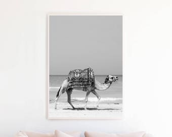 Camel Print, Desert Print, Black and White Photography, Moroccan Decor Art Print Printable, Camel Wall Art, Instant Download, ca2bwp