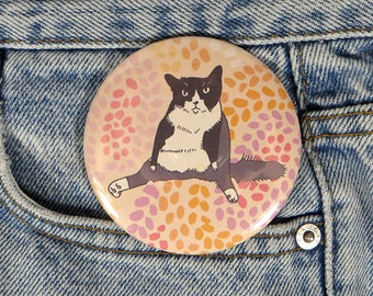Funny fat cat button - large cat pin back button - sitting cat badge - large cat magnet - cat on a rug pinback button