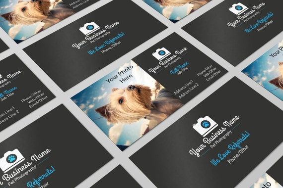 Premade pet photography business card design psd photoshop reheart Image collections