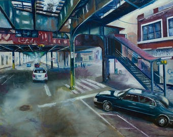 """oil painting on wood """"Broadway"""""""