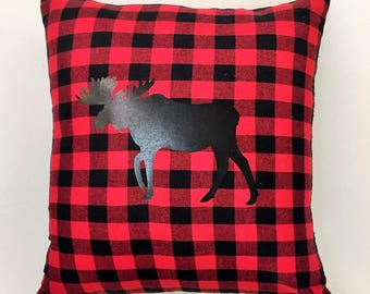 Buffalor Plaid Moose Pillow