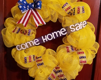 Military Wreath  Come Home Safe.  Marines Army Navy Air Force deployment.