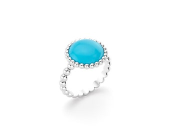 Turquoise cabochon and silver Cocktail ring