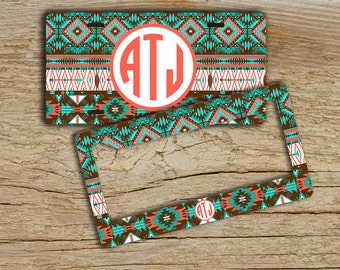 Monogrammed gift, Front license plate or frame, Aztec pattern aqua brown coral, Tribal car tag, Monogram bike accessories Cute car  (1194)