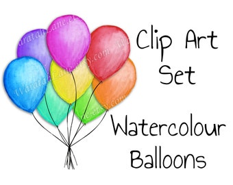 Balloons Clip Art Watercolor Clipart Set Birthday Clip Art party clipart helium balloons digital watercolor balloons watercolour clip art