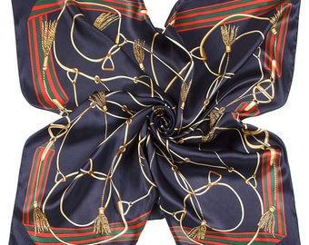 Satin Scarf , Square Neck Scarf , Women Scarf , Gifts for Her - Belts & Links Blue Scarf with Red and Green Border