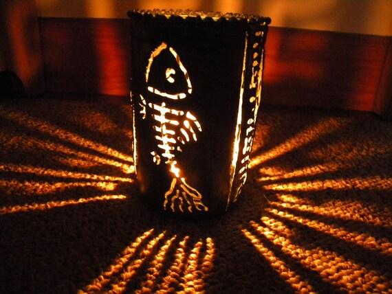 Fishbone recycled tin can luminary