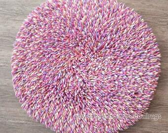 Felt Shag rug round 100cm , Baby pink felt shag rug ,Round shag rug, Round felt rugs , felt rug,felted rugs, Nepal handmade round rug