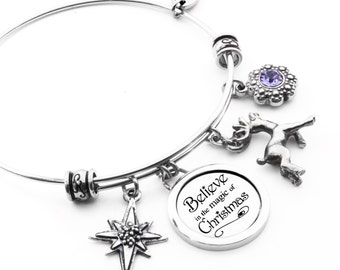 Christmas Bangle Bracelet with Reindeer Charm, Northern Star and Tanzanite Crystal