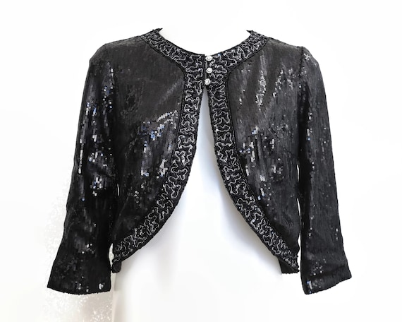 Vintage black and silver sequinned and beaded crop jacket, George Gross, BNWT, small size, perfect wedding bolero, circa 1990s