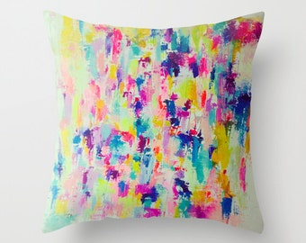 Bright neon beautiful abstract painting print pillow cover. A gorgeous mix of neons and lovely pastels makes the perfect colorful statement