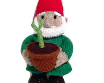 Norman the Gnome, Knitted gnome, hobby collectable, knitted, gardener gift, gnome gift, adult gift, adult toy, made to order,