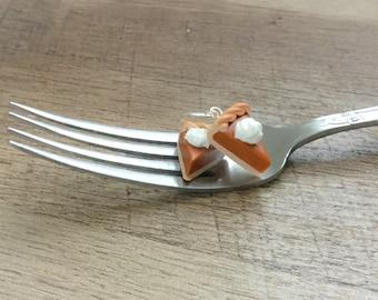 Food Earrings, miniature food jewelry, polymer clay food jewelry, pumpkin pie earrings, polymer clay jewellery