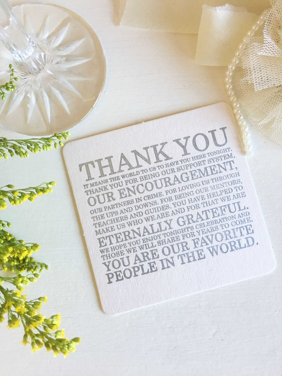 Thank You coasters for Elegant Party