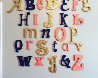 Wall Letters - Painted Wooden Letters - Alphabet Set - Playroom Decor - Nursery Decor - Wall Hanging  - ABC Wall Letters - Wooden Alphabet
