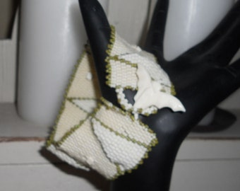 Cream Ivory and Moss Green Peyote Beaded Cuff Bracelet  The Owl and the Triangle