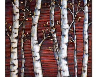 Aspens on Red Wood Burning Art, Acrylic Painting - Original