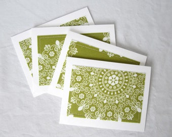 Blank notecards, Notecard set, fabric notecards, green modern floral, set of 8