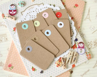 Plain Kraft Brown reinforced color holes Rounded Midi Tags