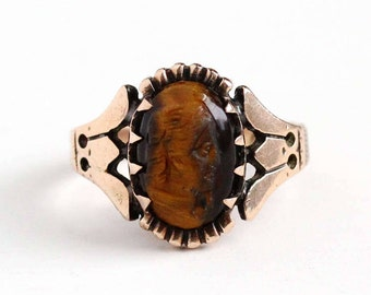 Sale - Victorian Cameo Ring - Antique 10k Rose Gold Carved Tiger's Eye Lady - Vintage Late 1800s Size 3 3/4 Golden Brown Gem Fine Jewelry