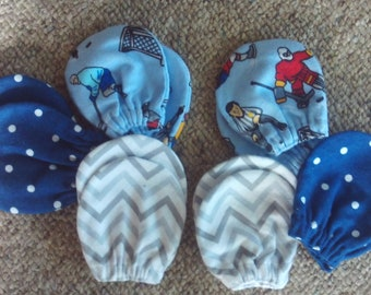 Twins,Set of 6 pair,hand mitts,newborn-3 months,boys,hockey,sports,shower,gift,infants,