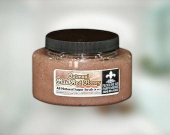 Oatmeal Milk & Honey All Natural and Handmade Sugar Scrub 8 oz