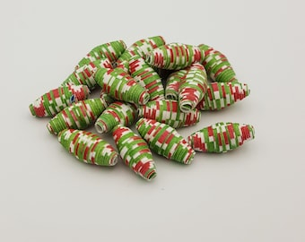 Red Green | Paper beads | Paper Bead Jewelry | Recycled Upcycled | Loose Paper Beads | Jewelry Supplies | Beading Supplies | Bicone
